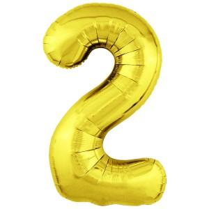 Фольгированный шар 40' (102 см) цифра 2 Золото Slim (Agura)