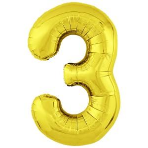 Фольгированный шар 40' (102 см) цифра 3 Золото Slim (Agura)