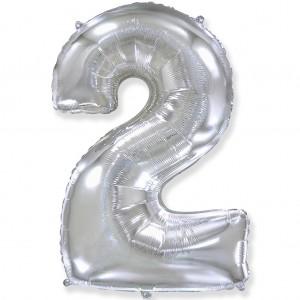 Фольгированный шар 40' (100 см) цифра 2 Серебро (Flexmetal)