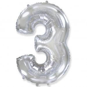 Фольгированный шар 40' (100 см) цифра 3 Серебро (Flexmetal)
