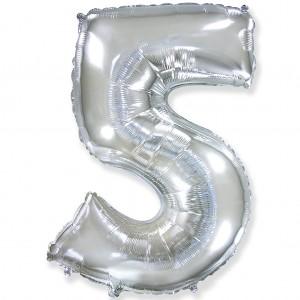 Фольгированный шар 40' (100 см) цифра 5 Серебро (Flexmetal)