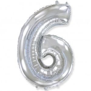Фольгированный шар 40' (100 см) цифра 6 Серебро (Flexmetal)