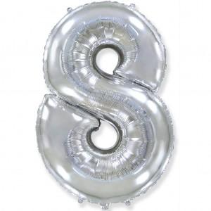 Фольгированный шар 40' (100 см) цифра 8 Серебро (Flexmetal)