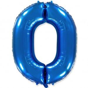 Фольгированный шар 40' (100 см) цифра 0 Синий (Flexmetal)