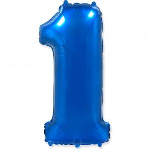 Фольгированный шар 40' (100 см) цифра 1 Синий (Flexmetal)