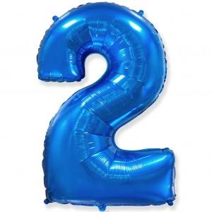 Фольгированный шар 40' (100 см) цифра 2 Синий (Flexmetal)