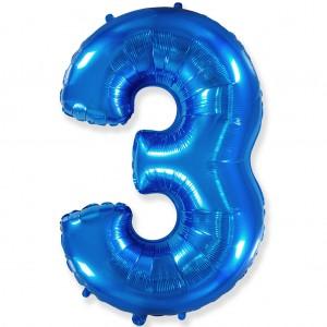Фольгированный шар 40' (100 см) цифра 3 Синий (Flexmetal)