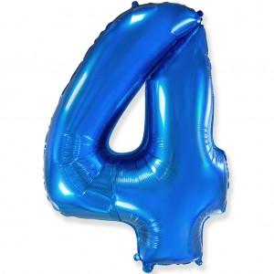 Фольгированный шар 40' (100 см) цифра 4 Синий (Flexmetal)