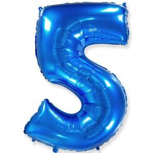 Фольгированный шар 40' (100 см) цифра 5 Синий (Flexmetal)