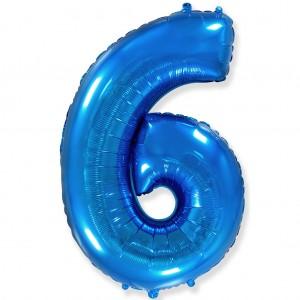 Фольгированный шар 40' (100 см) цифра 6 Синий (Flexmetal)