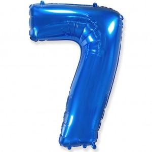 Фольгированный шар 40' (100 см) цифра 7 Синий (Flexmetal)