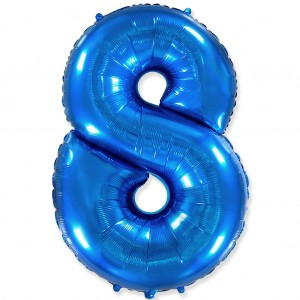 Фольгированный шар 40' (100 см) цифра 8 Синий (Flexmetal)