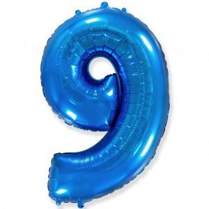 Фольгированный шар 40' (100 см) цифра 9 Синий (Flexmetal)