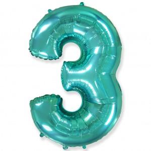 Фольгированный шар 40' (100 см) цифра 3 Тиффани (Flexmetal)