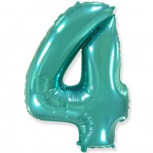 Фольгированный шар 40' (100 см) цифра 4 Тиффани (Flexmetal)