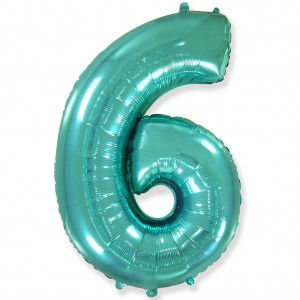 Фольгированный шар 40' (100 см) цифра 6 Тиффани (Flexmetal)