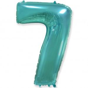 Фольгированный шар 40' (100 см) цифра 7 Тиффани (Flexmetal)
