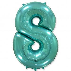 Фольгированный шар 40' (100 см) цифра 8 Тиффани (Flexmetal)