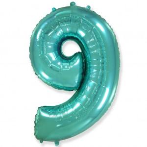 Фольгированный шар 40' (100 см) цифра 9 Тиффани (Flexmetal)