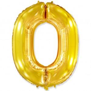Фольгированный шар 40' (100 см) цифра 0 Золото (Flexmetal)