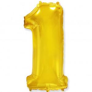 Фольгированный шар 40' (100 см) цифра 1 Золото (Flexmetal)