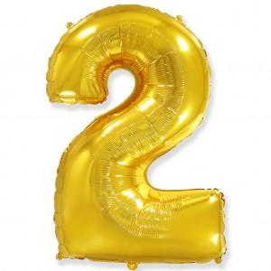 Фольгированный шар 40' (100 см) цифра 2 Золото (Flexmetal)