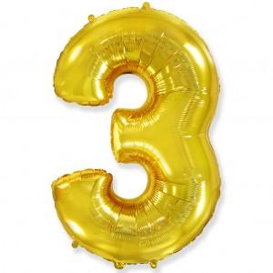 Фольгированный шар 40' (100 см) цифра 3 Золото (Flexmetal)