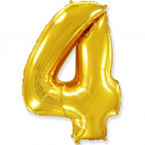Фольгированный шар 40' (100 см) цифра 4 Золото (Flexmetal)