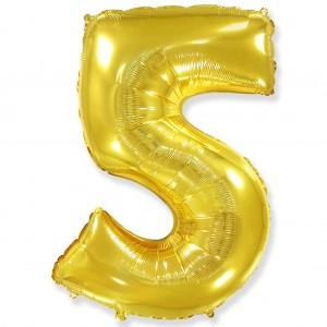 Фольгированный шар 40' (100 см) цифра 5 Золото (Flexmetal)