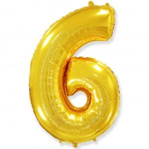 Фольгированный шар 40' (100 см) цифра 6 Золото (Flexmetal)