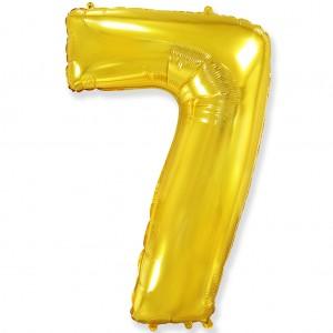 Фольгированный шар 40' (100 см) цифра 7 Золото (Flexmetal)
