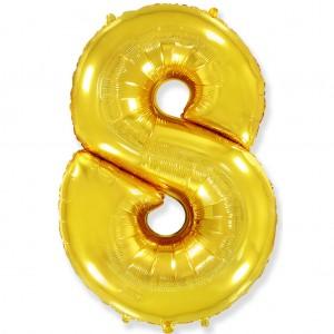 Фольгированный шар 40' (100 см) цифра 8 Золото (Flexmetal)