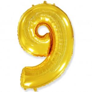 Фольгированный шар 40' (100 см) цифра 9 Золото (Flexmetal)