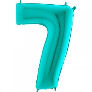 Фольгированный шар 40' (102 см) цифра 7 Тиффани металлик (Grabo)