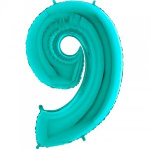 Фольгированный шар 40' (102 см) цифра 9 Тиффани металлик (Grabo)