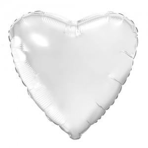 Фольгированный шар 18' (45см) Сердце Белый (Agura)