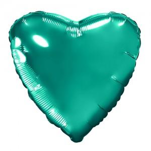 Фольгированный шар 18' (45см) Сердце Бирюзовый (Agura)