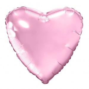 Фольгированный шар 18' (45см) Сердце Нежно-Розовый (Agura)