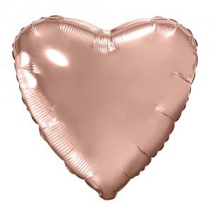 Фольгированный шар 18' (45см) Сердце Rose Gold (Agura)
