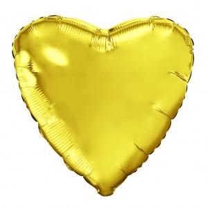 Фольгированный шар 18' (45см) Сердце Золотой (Agura)