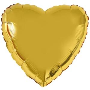 Фольгированный шар 18' (45см) Сердце Золото (Flexmetal)