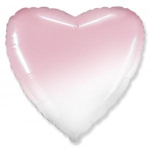 Фольгированный шар 18' (45см) Сердце Омбре Бело-Розовый (baby pink) (Flexmetal)
