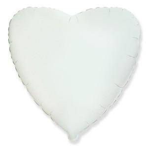 Фольгированный шар 18' (45см) Сердце Белый (Flexmetal)