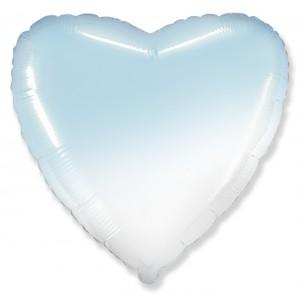 Фольгированный шар 18' (45см) Сердце Омбре Бело-Голубой (Flexmetal)