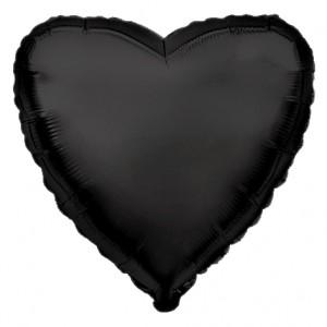 Фольгированный шар 18' (45см) Сердце Cатин Чёрное (Flexmetal)