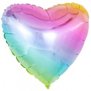 Фольгированный шар 18' (45см) Сердце Омбре Жемчуг (Flexmetal)