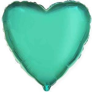 Фольгированный шар 18' (45см) Сердце Изумрудное (Flexmetal)