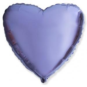 Фольгированный шар 18' (45см) Сердце Cатин Лиловое (Flexmetal)