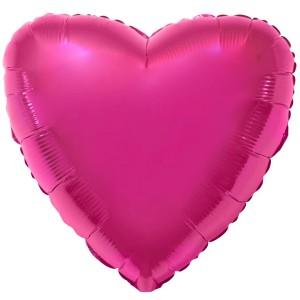 Фольгированный шар 18' (45см) Сердце Малиновый (Flexmetal)