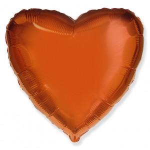 Фольгированный шар 18' (45см) Сердце Оранжевый (Flexmetal)
